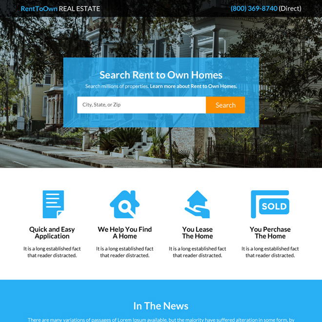 rent to own homes real estate lead generating landing page Real Estate example
