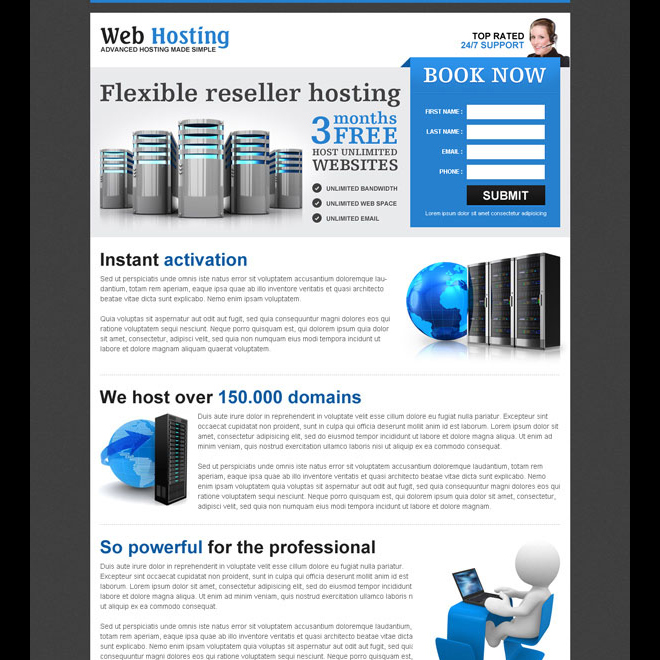 web hosting re-seller hosting lead capturing most converting landing page Web Hosting example