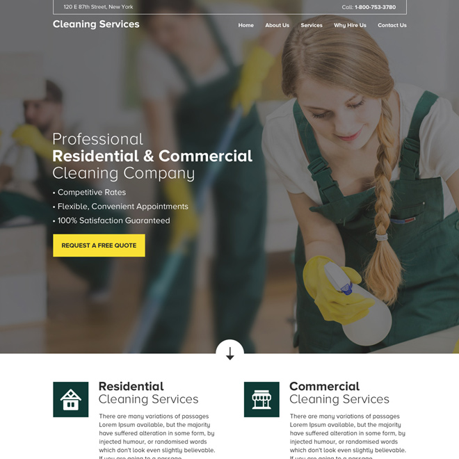 residential and commercial cleaning service company responsive website design Cleaning Services example