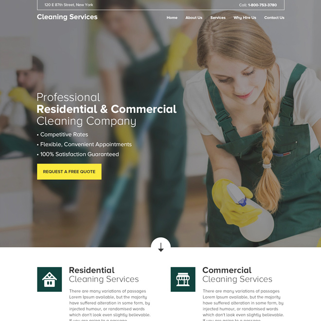 residential and commercial cleaning service company website design Cleaning Services example