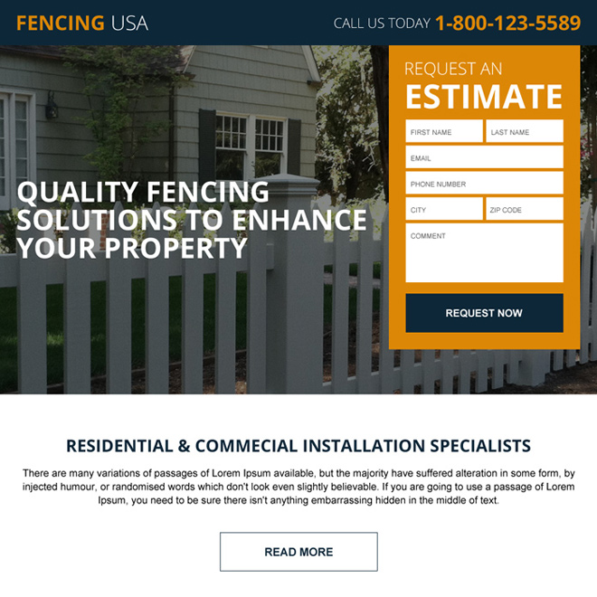 residential and commercial fencing landing page Fencing example