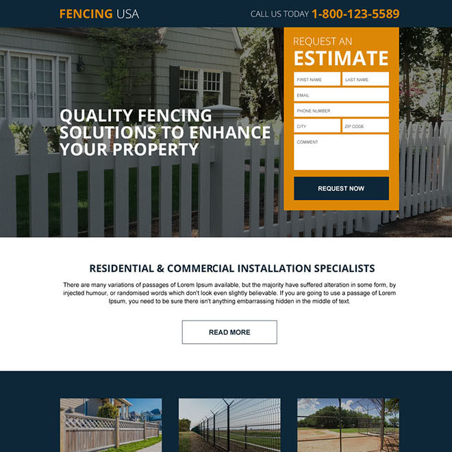 residential and commercial fencing service responsive landing page design Fencing example