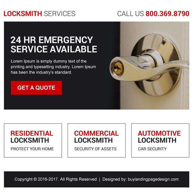 residential and commercial locksmith ppv landing page design Locksmith example
