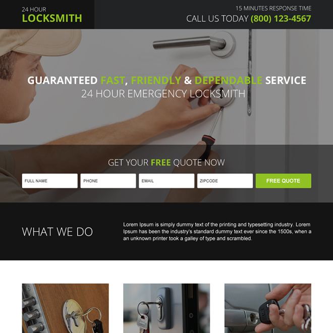residential locksmith free quote responsive landing page design Locksmith example
