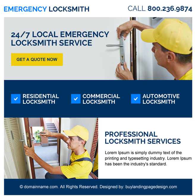 emergency locksmith services ppv landing page design Locksmith example