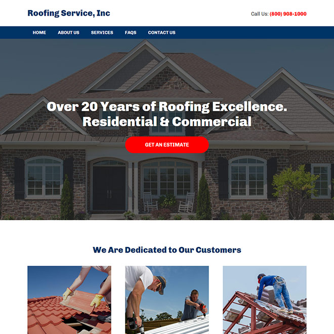 residential and commercial roofing company responsive website design Roofing example