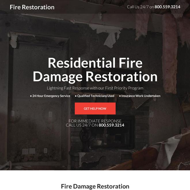 residential fire damage restoration landing page Damage Restoration example