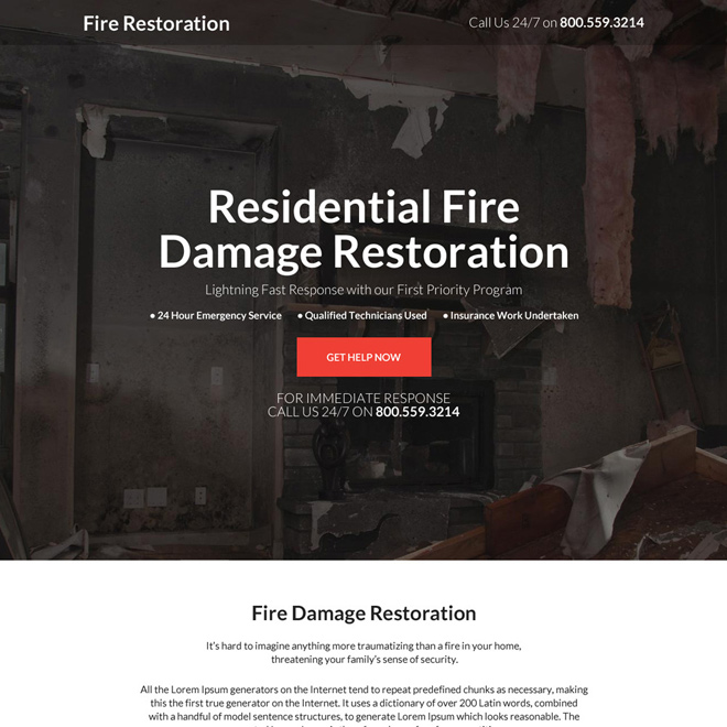 residential fire damage restoration responsive landing page Damage Restoration example