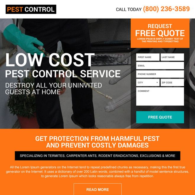 residential pest control service promoting landing page design Pest Control example
