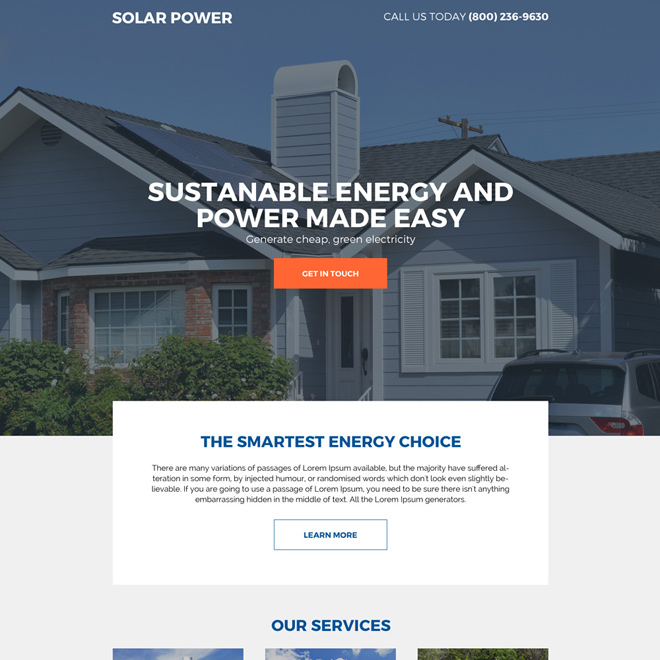 residential solar energy companies responsive landing page design Solar Energy example