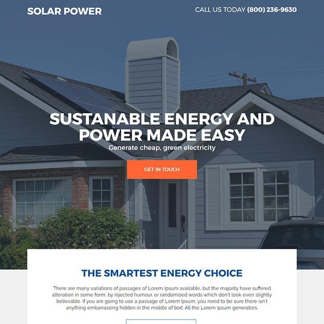 residential solar energy companies responsive landing page design Solar Energy example
