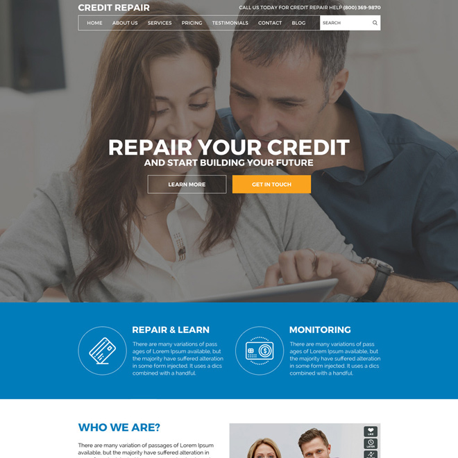 responsive credit repair service website design Credit Repair example