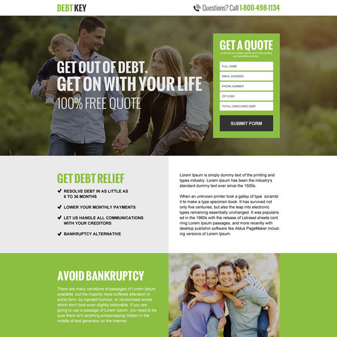 responsive debt key free quote lead capturing landing page Debt example