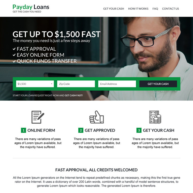 responsive online payday loan business website design Payday Loan example
