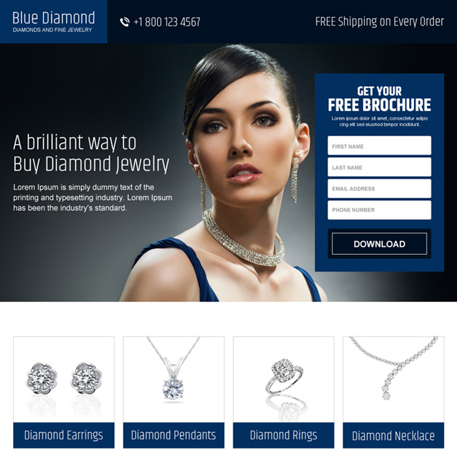 converting responsive jewelry landing page design Jewelry example