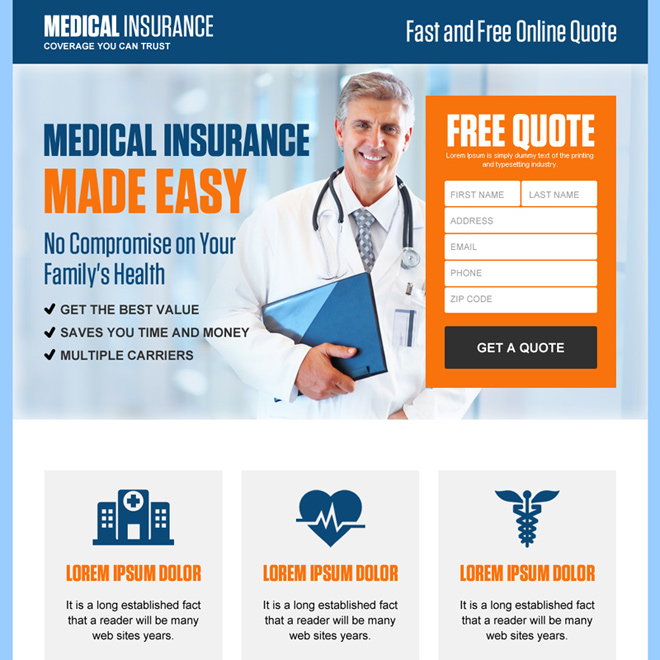 minimal health insurance quote capturing responsive landing page Health Insurance example
