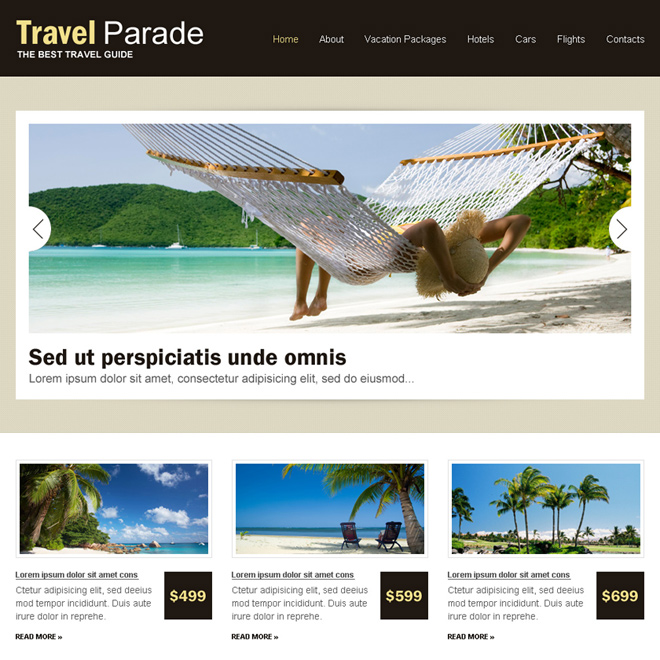 responsive travel business website design template Travel example