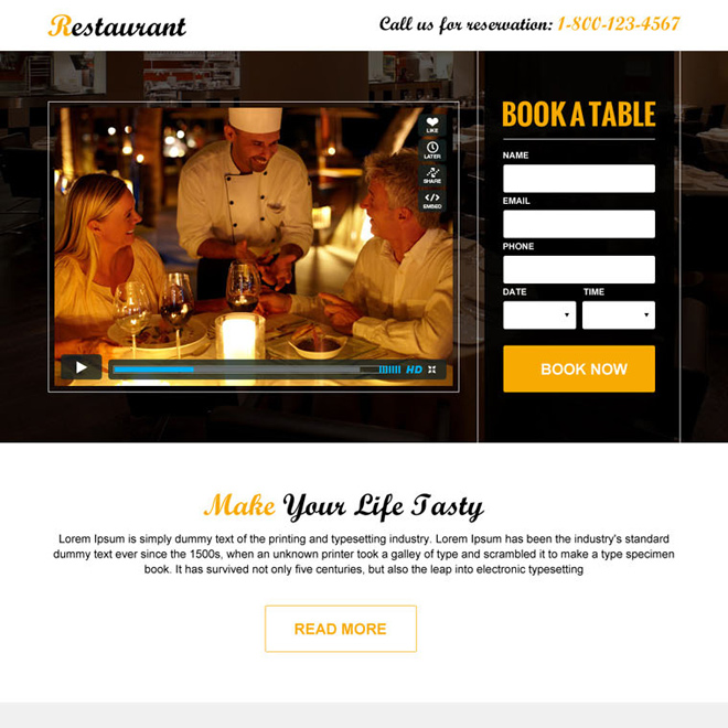 restaurant booking clean and appealing video landing page design Hotel And Restaurant example
