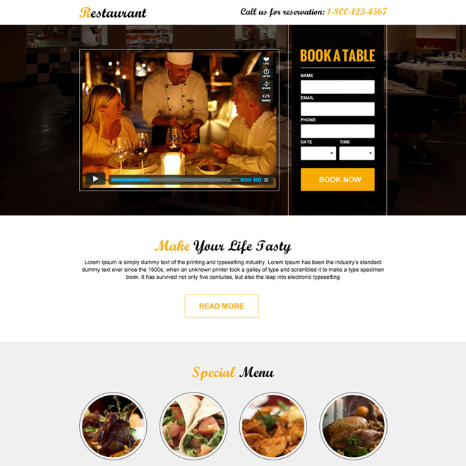 responsive restaurant booking landing page design Hotel And Restaurant example