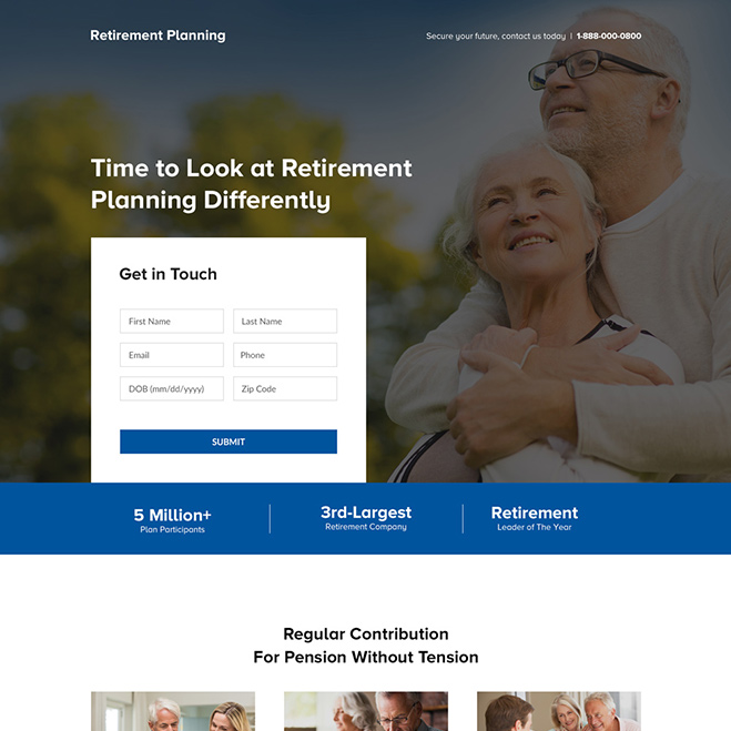 professional retirement planning lead generating landing page Retirement Planning example
