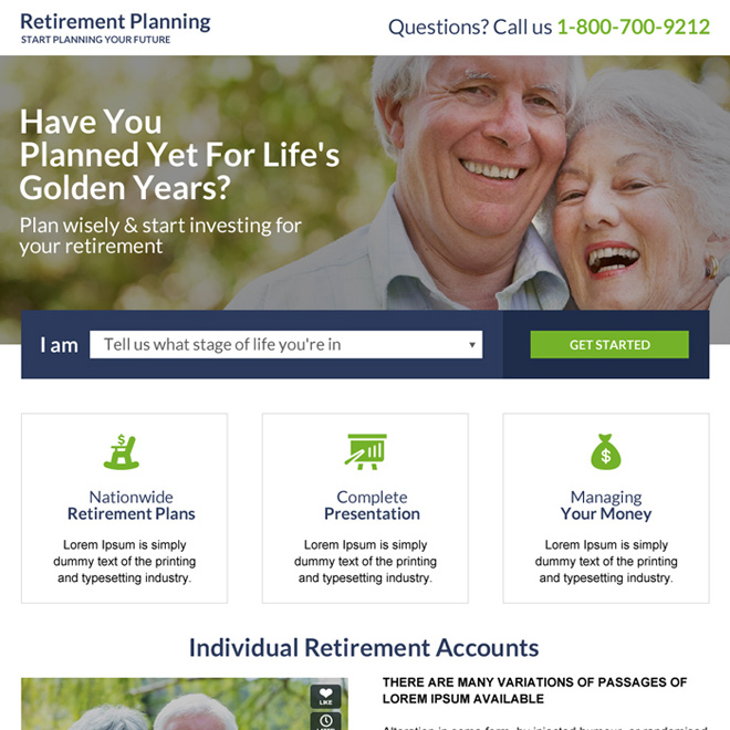 retirement planning for your future landing page design Retirement Planning example