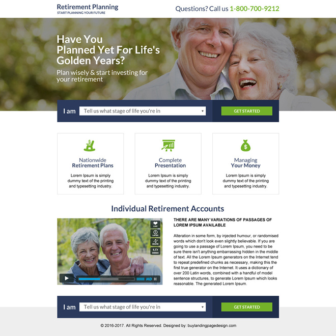 responsive retirement planning mini landing page design Retirement planning example