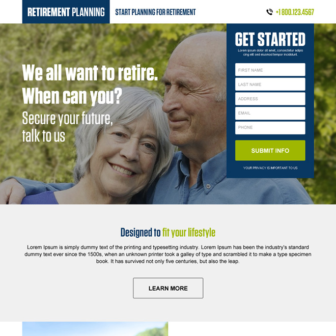 retirement planning responsive landing page design Retirement Planning example