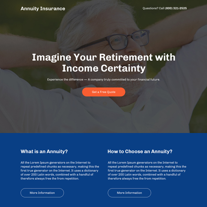 retirement with income certainty responsive landing page Retirement Planning example