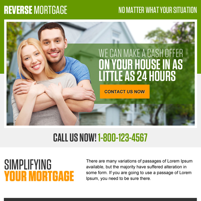 reverse mortgage for your home ppv landing page design Mortgage example