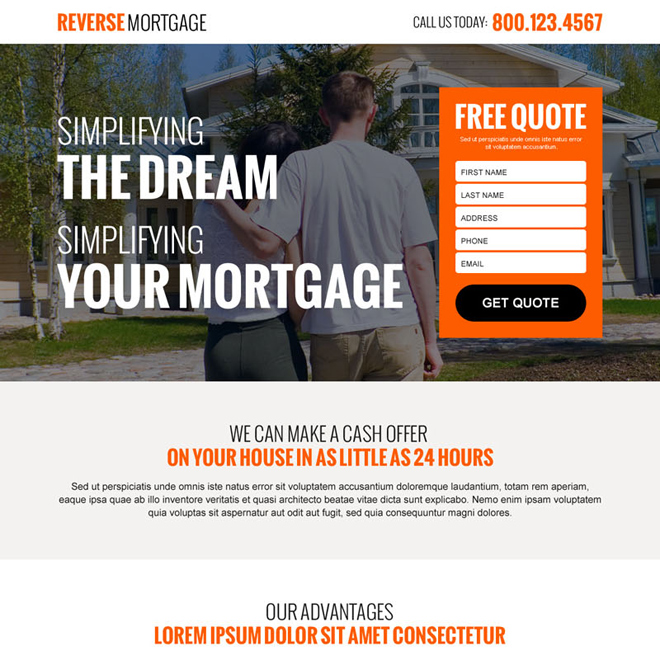 reverse mortgage free quote lead gen landing page design template Mortgage example