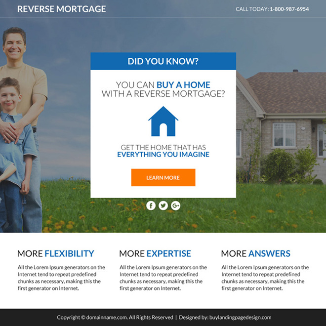 reverse mortgage leads responsive funnel page design Mortgage example