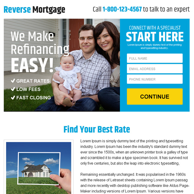 reverse mortgage refinancing ppv landing page design Mortgage example