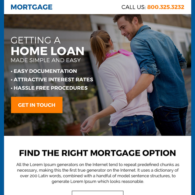 right mortgage option ppv landing page design Mortgage example