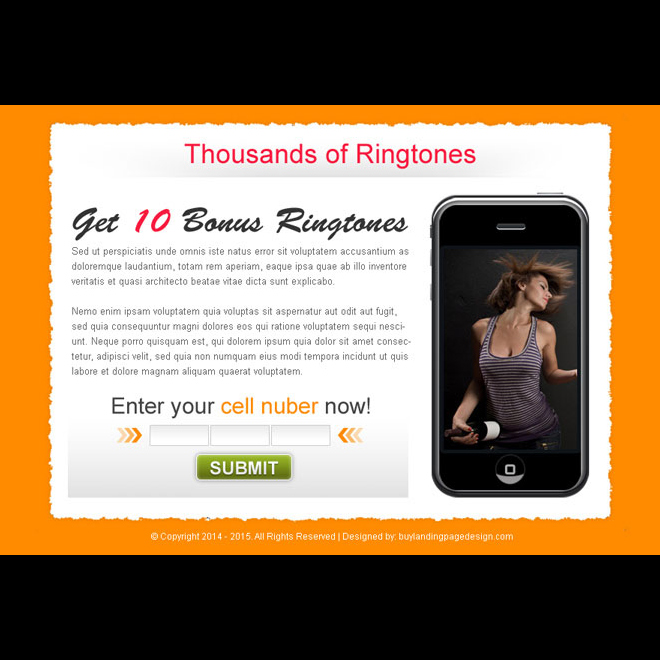ringtone download lead capture effective ppv landing page design template Miscellaneous example