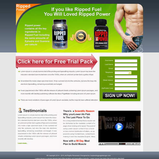 clean and user friendly ripped power body building lead capturing landing page design Bodybuilding example
