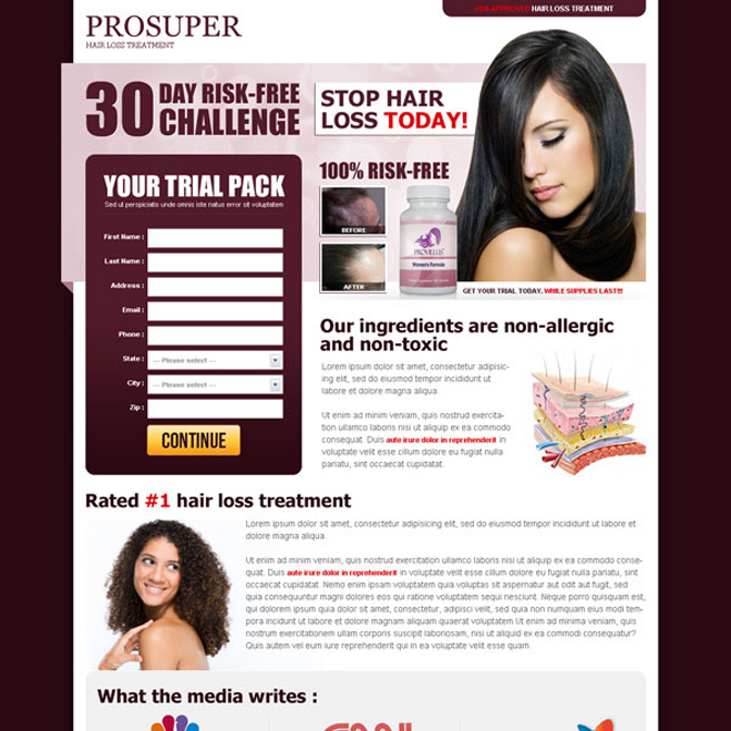 hair loss treatment risk free challenge lead capture landing page Hair Loss example