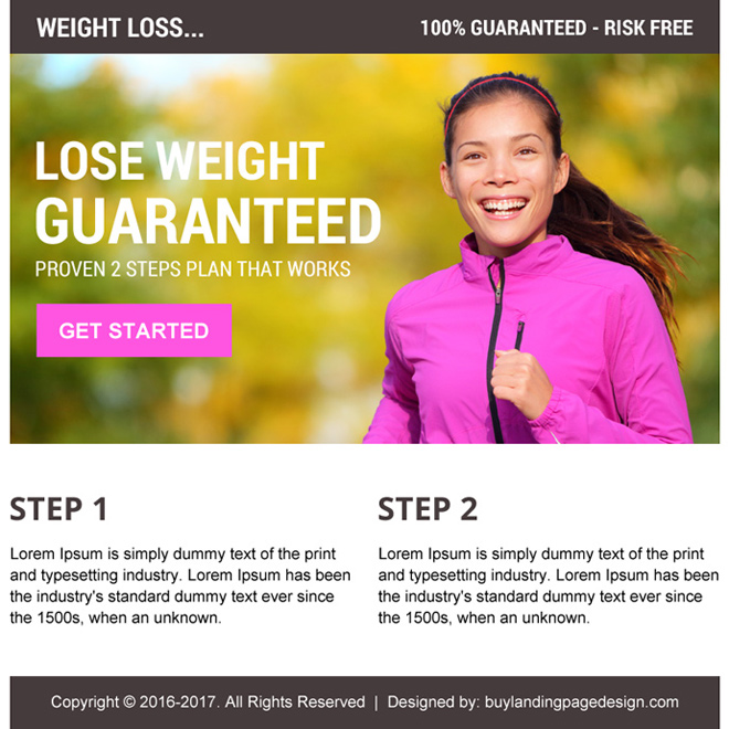 risk free proven weight loss call to action ppv landing page Weight Loss example