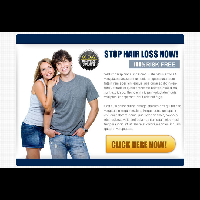stop hair loss now risk free call to action ppv landing page design Hair Loss example