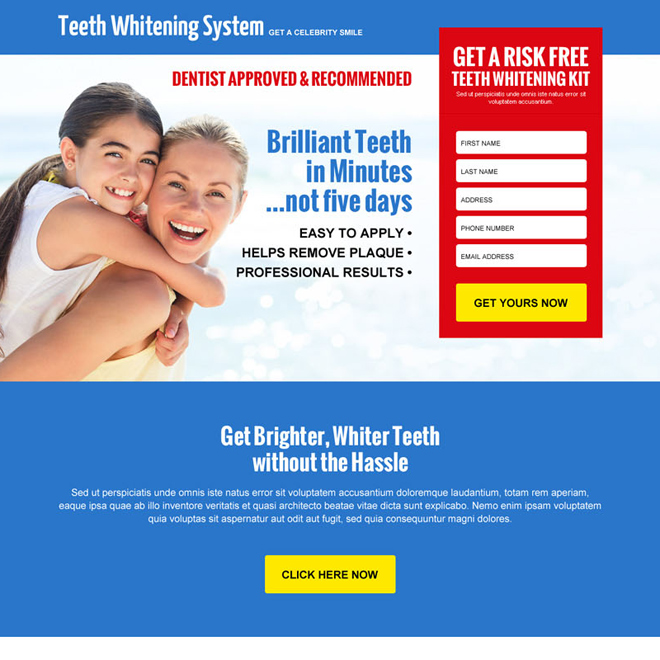 teeth whitening kit risk free trial lead capture landing page design Teeth Whitening example