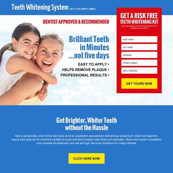 risk free teeth whitening kit leads responsive landing page design Teeth Whitening example