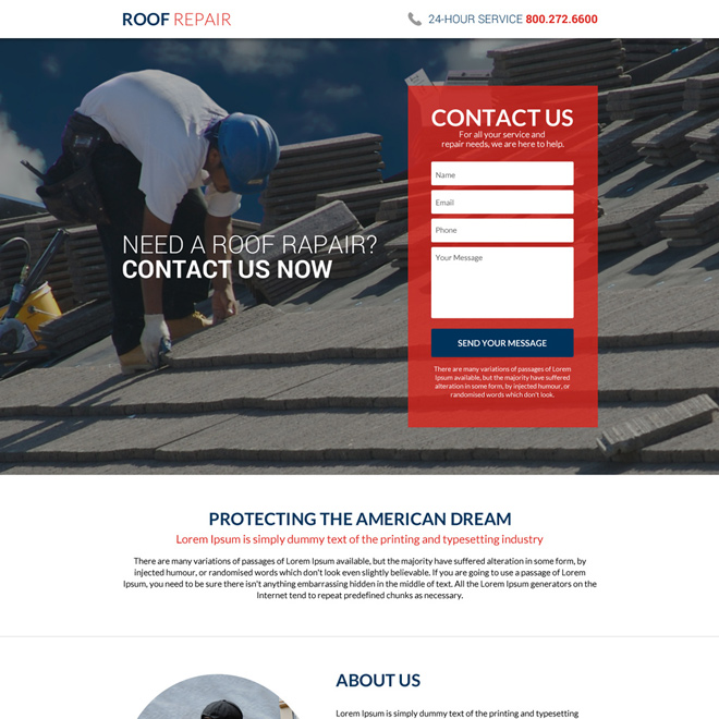 roofing repair service lead capturing landing page design Roofing example