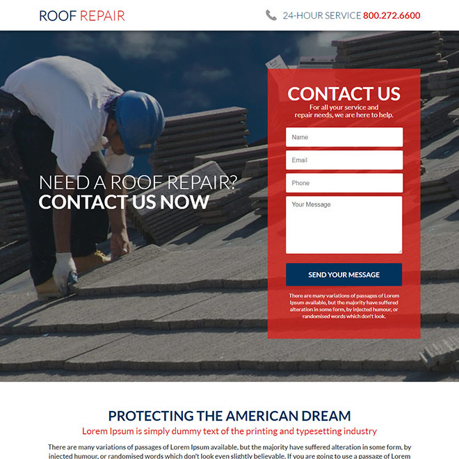 american roofing and restoration service responsive landing page Roofing example