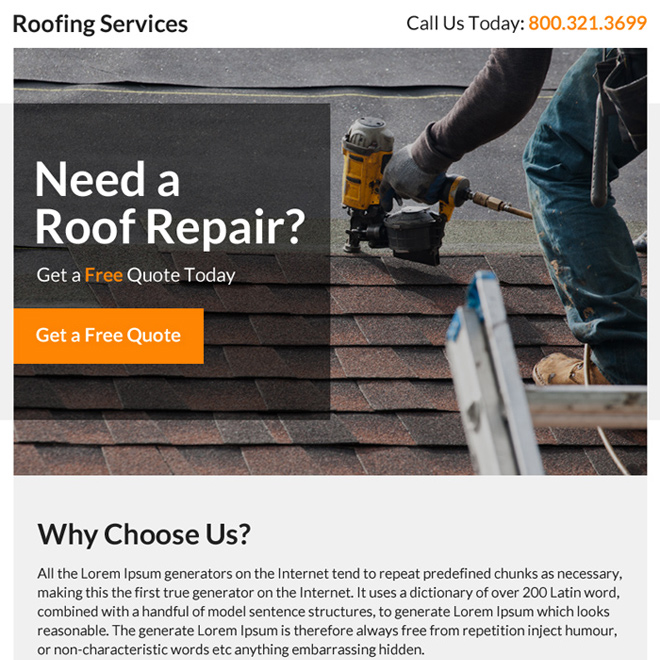 roofing repair service professional ppv landing page design Roofing example
