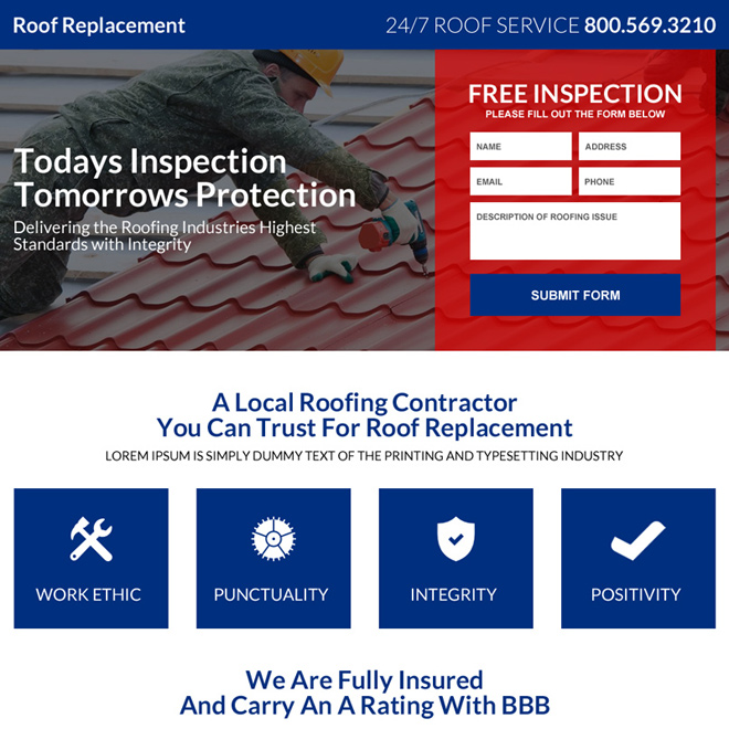 roofing lead generating mini landing page design Roofing example