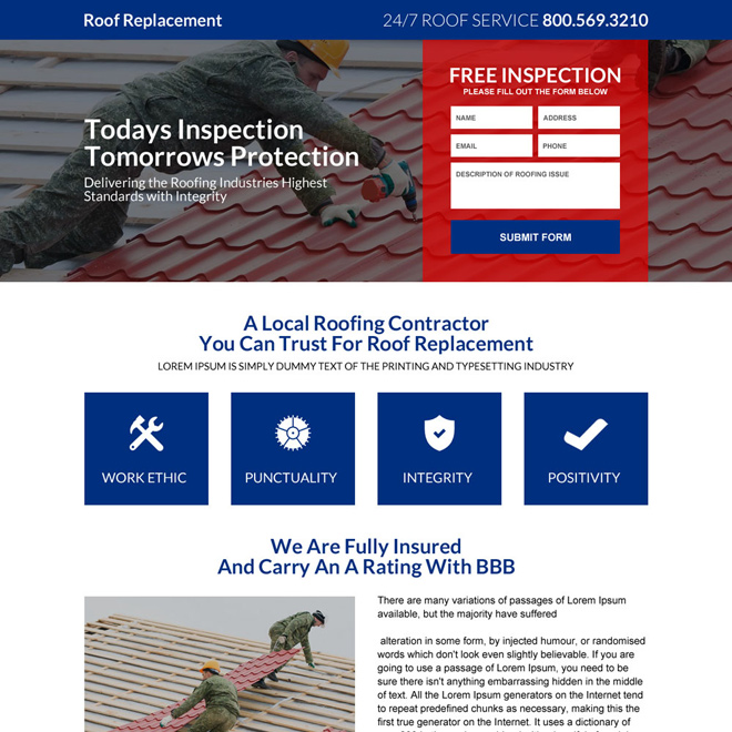 roof replacement free inspection responsive landing page design Roofing example