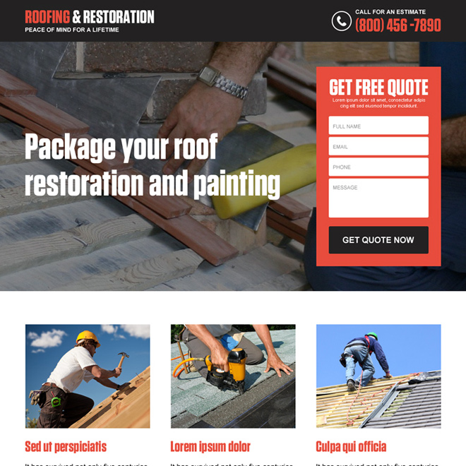 roofing and restoration responsive lead generating landing page design Roofing example