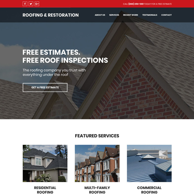 residential and commercial roofing services responsive website design Roofing example