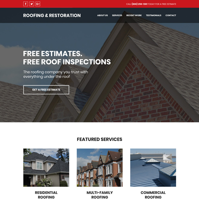 roofing and restoration free estimates website design Roofing example
