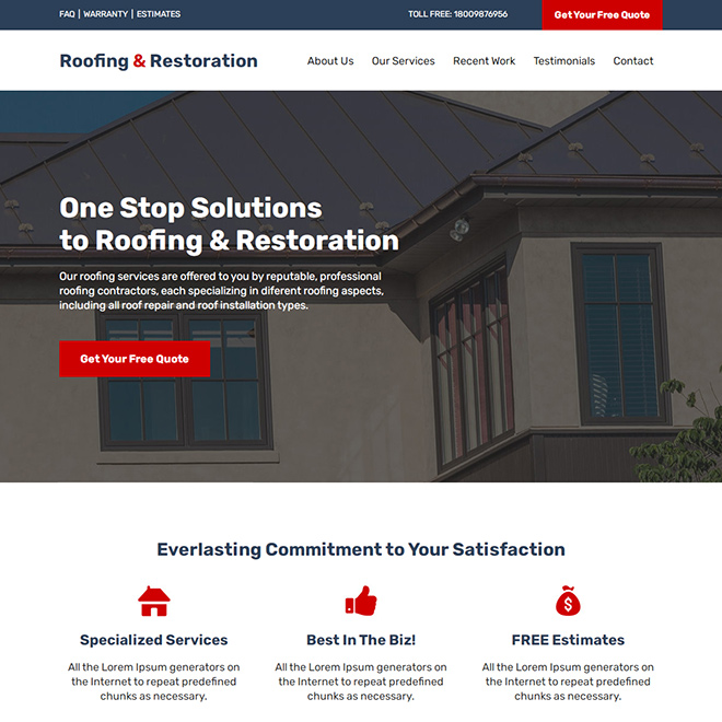 roofing and restoration service responsive website design Roofing example