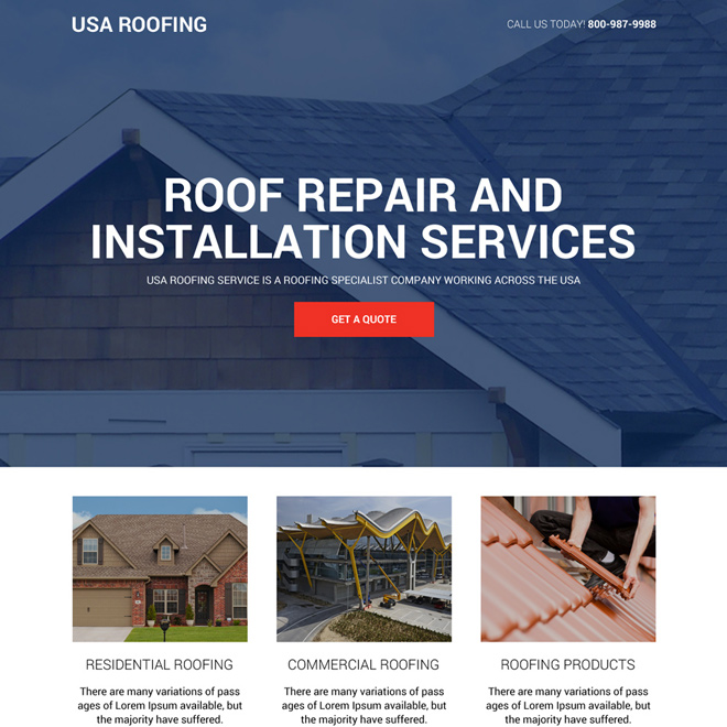 roofing repair and installation service landing page design Roofing example